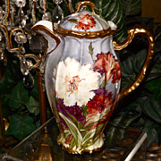 Limoges Chocolate Pot with Multi Colored Fringed Day Lilies and Raised Gold Details
