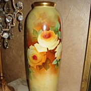 Limoges  Vase with Yellow Roses Signed by Master Artist Bronssillon
