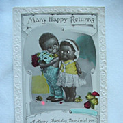 Black Americana Many Happy Returns Birthday Postcard With Boy And Girl