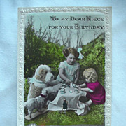 Birthday Rppc Postcard To My Dear Niece Girl Having Tea Party With Dogs And Dolls