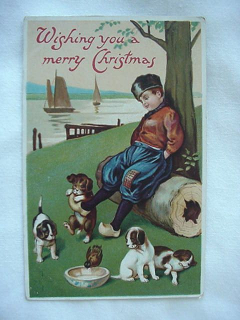 Wishing You A Merry Christmas Boy With His Puppies