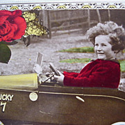Birthday Wishes Postcard 7th Birthday Girl In Lucky 7 Pedal Car