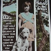 Birthday RPPC Postcard Girl With Her Dalmatian Dog
