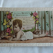SALE First Birthday Postcard Cute Baby Flowers And Butterfly