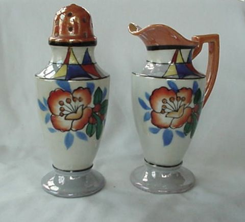 Lusterware Sugar Shaker And Creamer 1940s Handpainted Japan