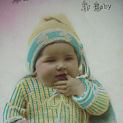 Happy Birthday Postcard To Baby With Finger In Mouth