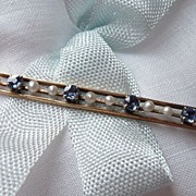 10kt Gold Bar Pin with Genuine Seed Pearls and Sapphires ca. 1910