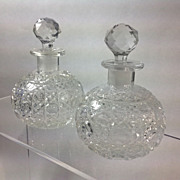 Pair 19th Century Cut Glass Perfume Bottles