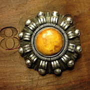 Early Sterling & Baltic Amber Brooch