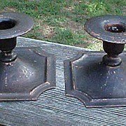 REDUCED Pair Roycroft Hammered Copper Candle Holders