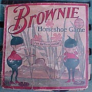 Vintage Tin Brownie Horseshoe Game Complete In Box