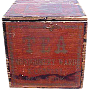 SALE Fabulous Early Dovetailed Montgomery Ward Tea Box