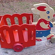Cute Rabbit and Cart Easter Candy Container Pull Toy