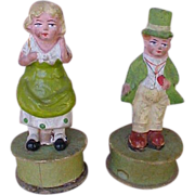 SALE Pair Of Exceptional German Paper Mache St. Patrick's Day Candy Containers