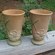 Pair Of Weller Wild Rose Deco Vases