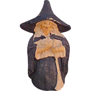 Vintage Halloween Pulp Witch Candy Container
