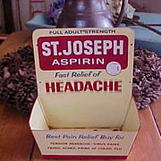 St. Joseph Aspirin Tin Litho Advertising Store Display Sign
