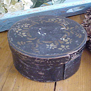 Wonderful Antique Pantry Box In Old Black Paint And Stencil Decoration.