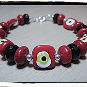 SOLD Candy Apple Red Venetian Millefiori Bead Bracelet