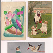 Nice lot of 3 Baby Stork Delivery Postcards Baby Dolls