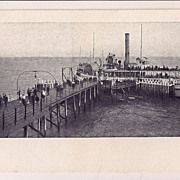 Boat Landing Coney Island New York NY Vintage Postcard with boat
