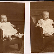 Set of 2 Adorable Real Photographs of a baby toddler in a chair