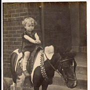 Adorable girl on Pinto Painted Pony Real Photo 4 x 6