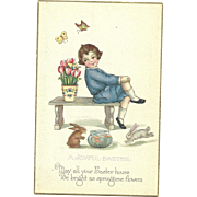 MINT Joyful Boy with Easter Rabbit Fish Butterflies Tulips Easter Postcard