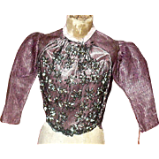 French Fashion Amethyst Glazed Linen Bodice Gun Metal Beads
