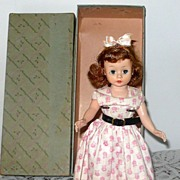 "REDUCED 10"" 1950's Cissette Auburn Pink Make Up Day Dress  Box"