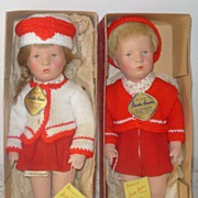 "Pair Boxed 14"" Kathe Kruse Doll IX Western Germany Tags"