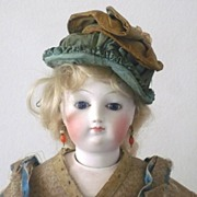 "Very Beautiful Early 17.5"" French Fashion Palest Bisque Cobalt Eyes"