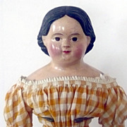 19&quot; 1850's Papier-mache Brown Eyes Original Body Dress