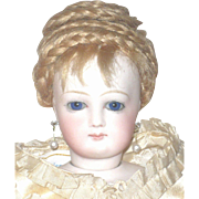 Early Pale 15&quot; French Fashion Cobalt Eyes Shapely Kid Body Original Wig