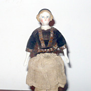 5.5&quot; Blond Alice 1860 China DH Doll w Black Band Flat Boots Spoon Hands