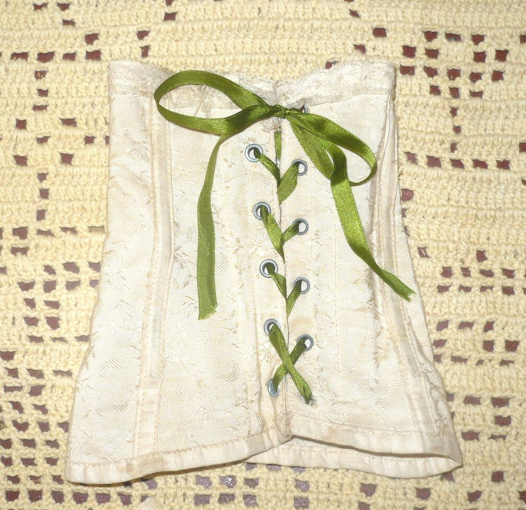 Floral Patterned Ivory Linen Corset Metal Bones Grommets Warner Label