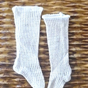 "19th Century 5"" Long Ribbed Fitted White Knit French Fashion Stockings"