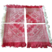 4 Turkey Red & Ivory  Floral Pattern Damask Napkins Fringe Heart Border