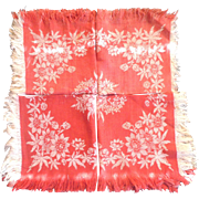 "4  Turkey Red  & Ivory 12""  Linen Napkins Fringe Floral Pattern"