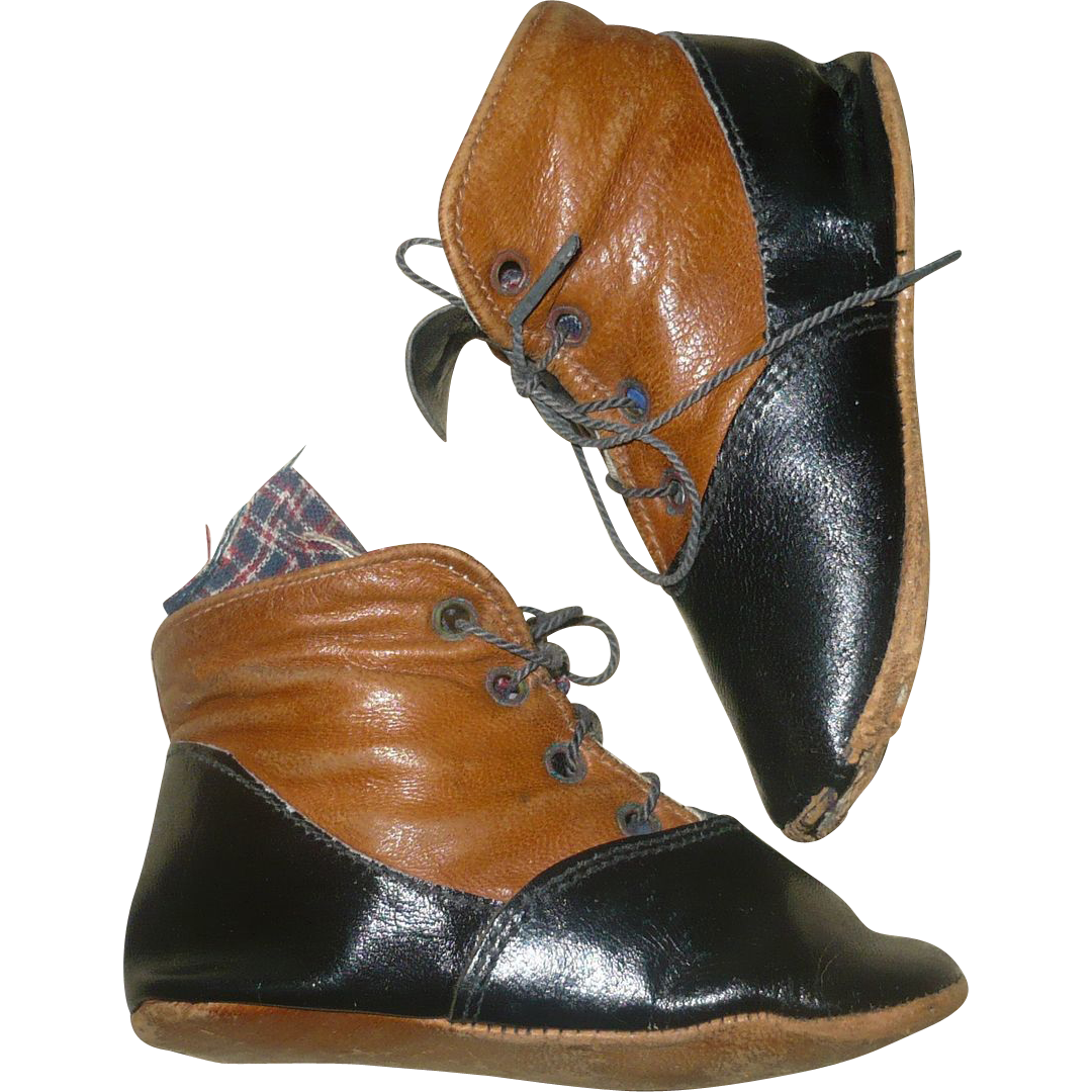 "19th Century 4"" Saddle & Black Leather High Tops No Left or Right Side"