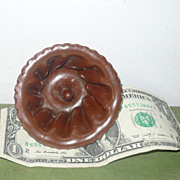 Tiny 19th Century PA or NJ Glazed Earthenware Fluted Mold Bundt Pan