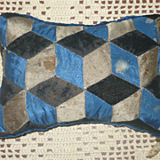 19th C Blue Gray Brown Silk & Velvet Block Pieced 7&quot; x 4.5&quot; Pin Cushion