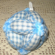 Indigo & Ivory Check Linen Puzzle Ball Pin Cushion Feather Stitching