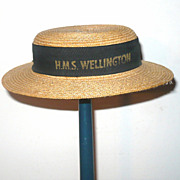 1934 Woven Straw Boater H.M.S. Wellington