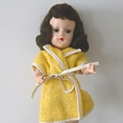 Tagged Mary Hoyer Yellow Cotton Terry Short Robe & Scuffs