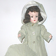 Mary Hoyer Pattern Made Olive Check Hooded Raincoat & Umbrella