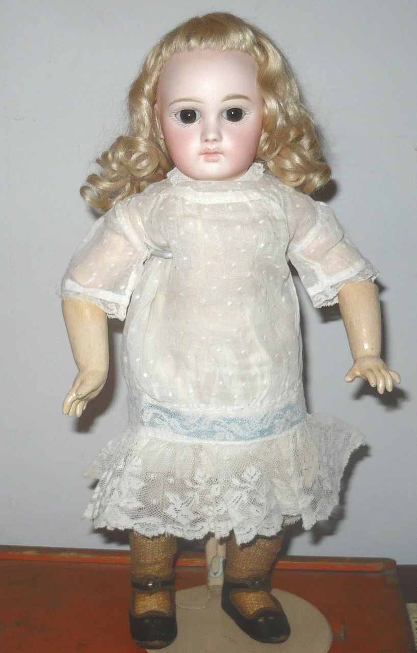 Old Drop Waist White Dotted Swiss Dress Lace Skirt for Small Doll