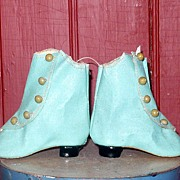 REDUCED Size 7 Turquoise Oil Cloth 5 Button Doll Boots French Heels