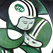 American Art - New York Jets: Contemporary Pop Cubist Oil Painting