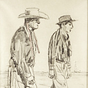 American Art - Two Cheyenne Friends - Vintage Drawing